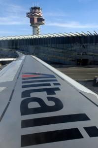 Fiumicino Rome transfer picture of am Alitalia plane wing