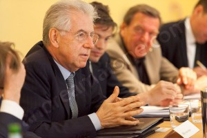 Prime minister Mario Monti during a meeting discussion