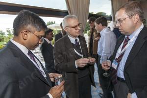 Delegates exchanging business cards