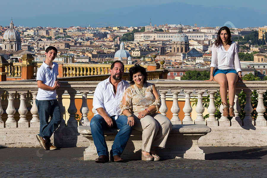 Family photo taken at Gianicolo in Rome Italy