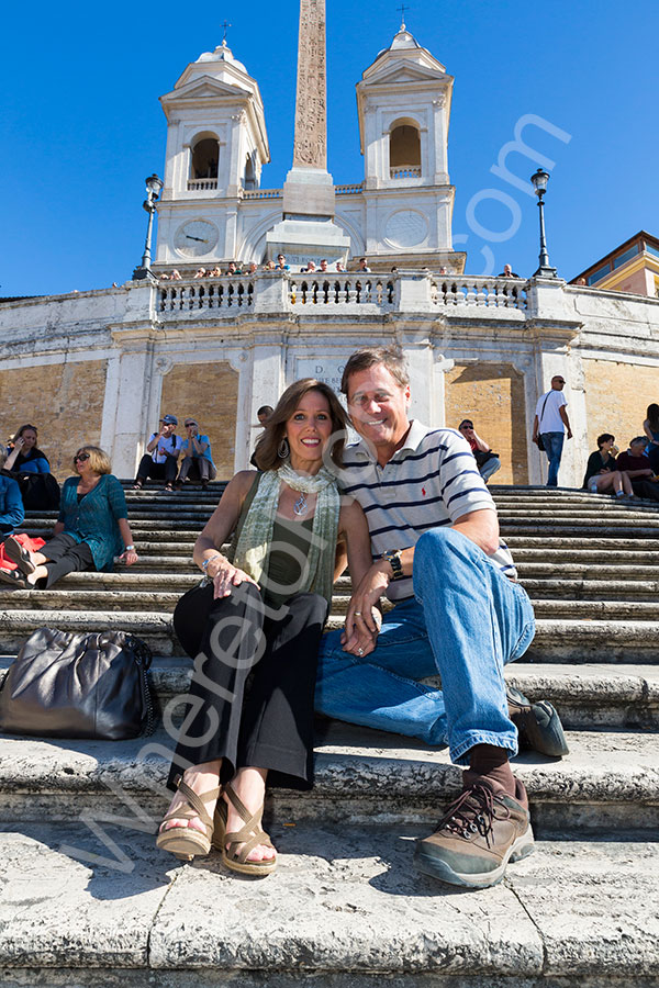 Sitting down on the Spanish steps in Rome