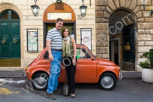 Image in front of a Fiat 500 car