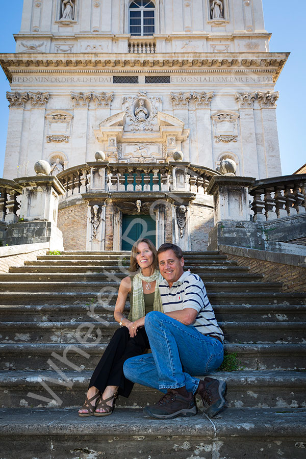 Pictures on the steps of a Church in Rome