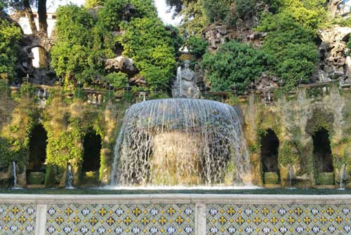 Water fountain. Villa d'Este. Tivoli. Italy.