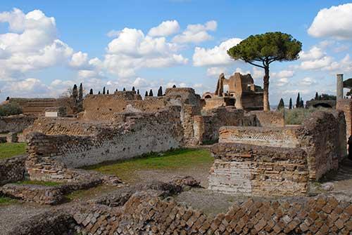 Ruins at Hadrian's Villa in Tivoli, Italy.