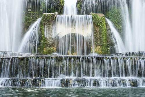 Water fall close up fountain Villa d'Este