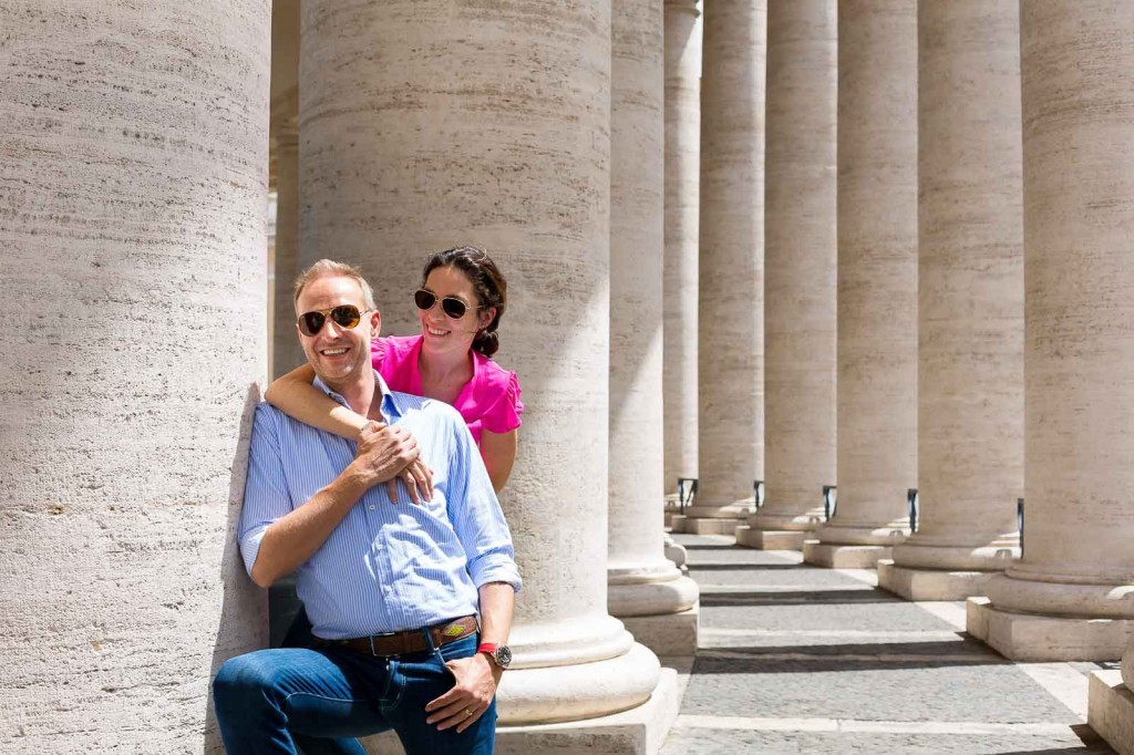 Couple pictures taken underneath the columns of Saint Peter's.