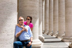 Couple pictures taken underneath the columns of San Pietro in Rome