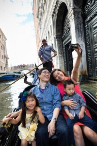 Family selfie picture taken on a Gondola ride through the canals