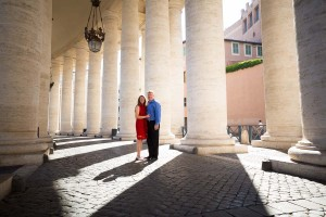 Underneath the columns contained in Saint Peter's square in the Vatican