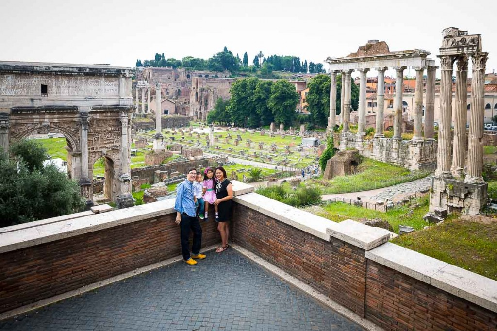 View over the forum from above. Family picture.