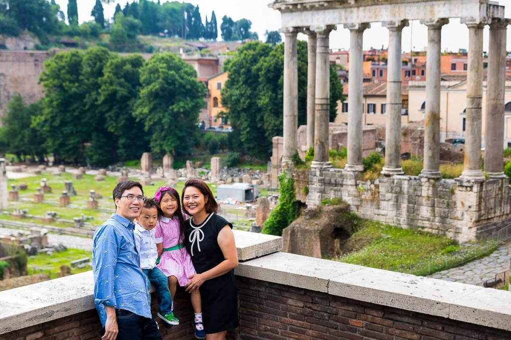 Close up family with ruins