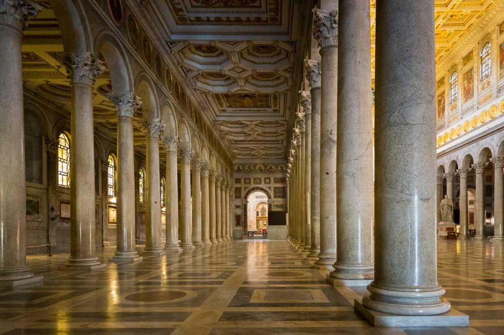 Inside Basilica Church San Paul. San Paolo Fuori le Mura. Rome.