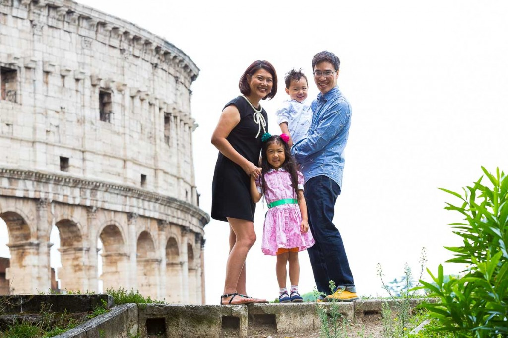 Family portrait at the Colosseum in Rome.