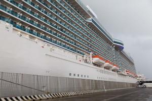 Cruise ship full view at Civitavecchia port