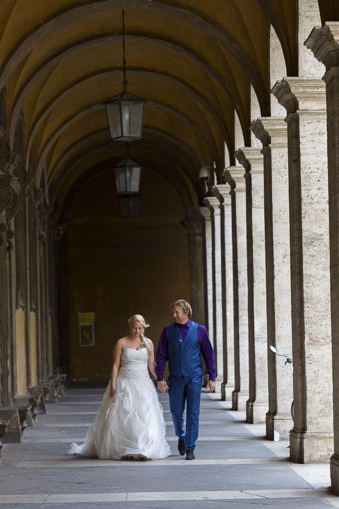 Walking under portico columns