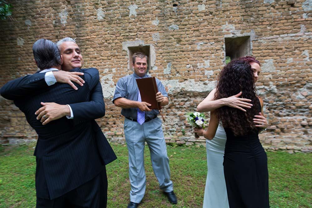 The joyful celebration of embracing the witnesses.