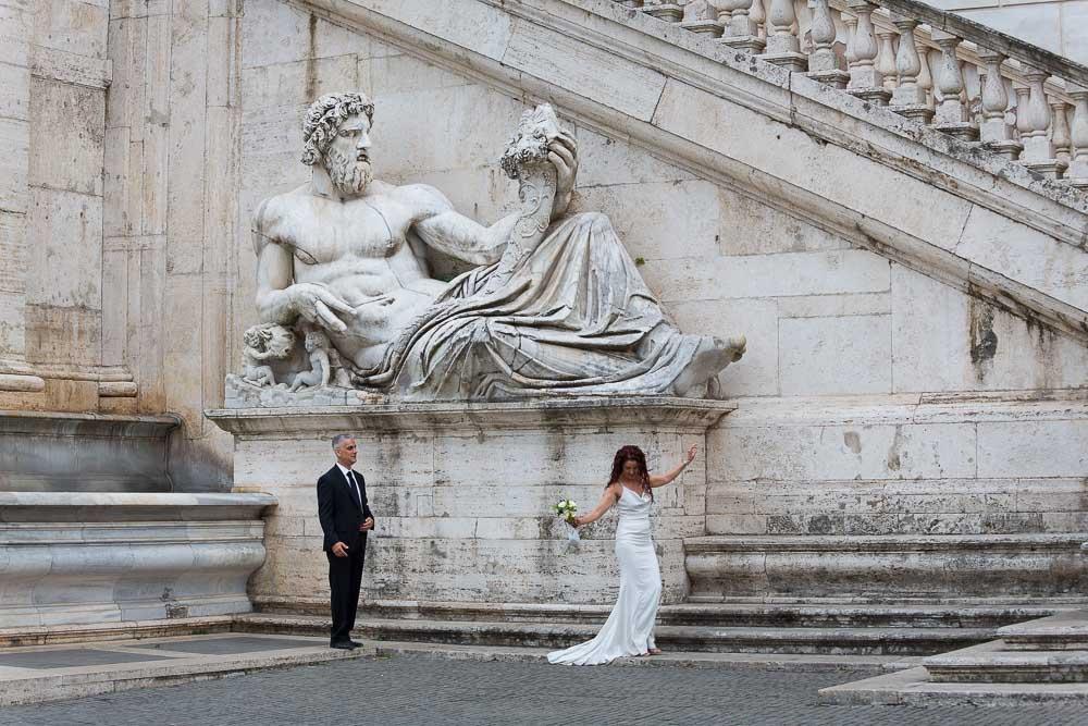A stylish picture taken near a statue in Piazza del Campidoglio.