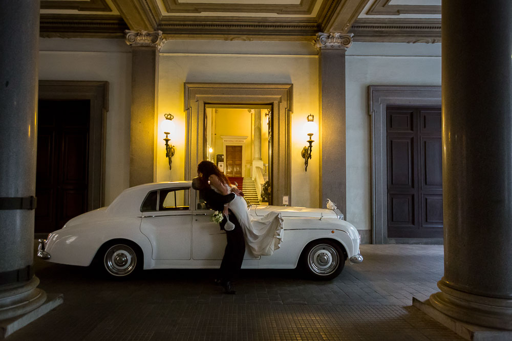 Picture taken of the newlyweds with the Rolls Royce Silver Cloud