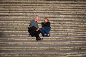 Sitting down on the Spanish Steps.