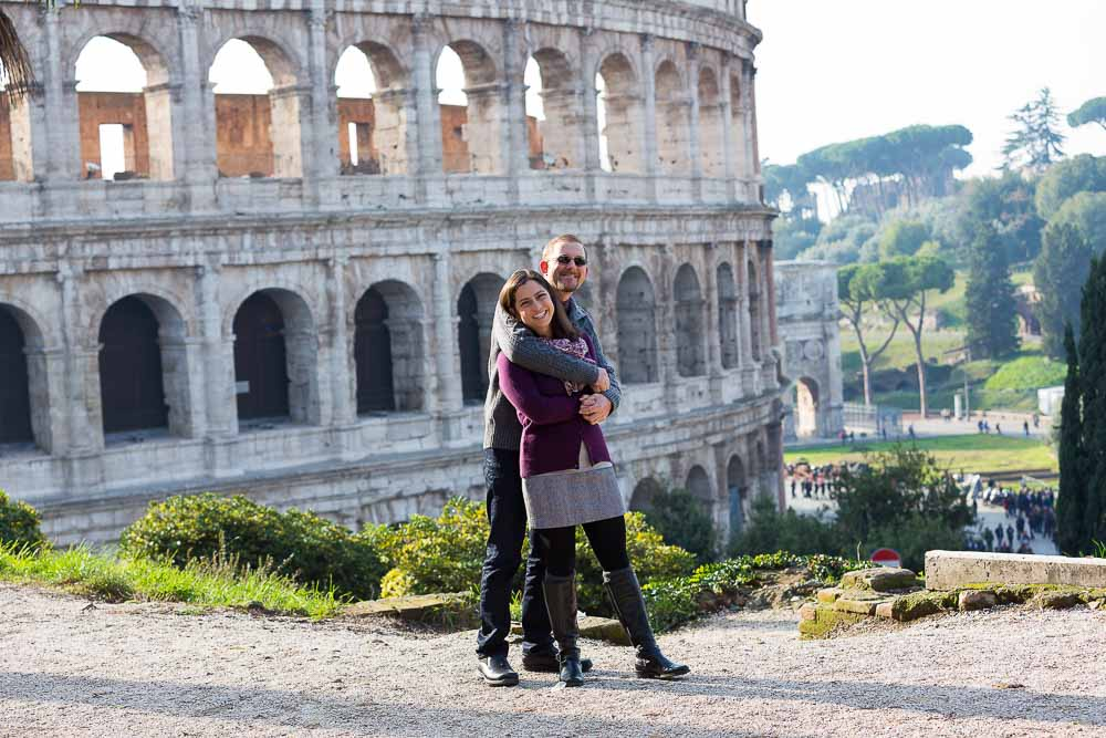 Couple photographed together during a shoot at the Colosseum.