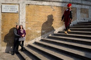 Photo tour in Rome: portrait image with roman centurion walking up the stairs.