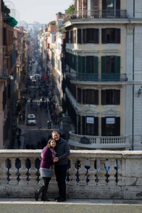 Via Condotti in far distance. Seen from Piazza di Spagna during a photography session.