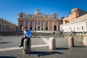 Sitting down in front of Saint Peter's cathedral