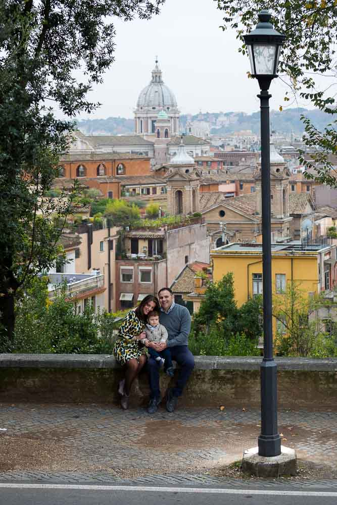 Full view picture from Pincio Park. Roman rooftops as backdrops.