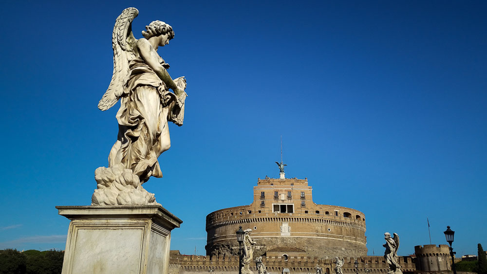 Panoramic picture of Castel Sant'Angelo bridge in Rome Italy