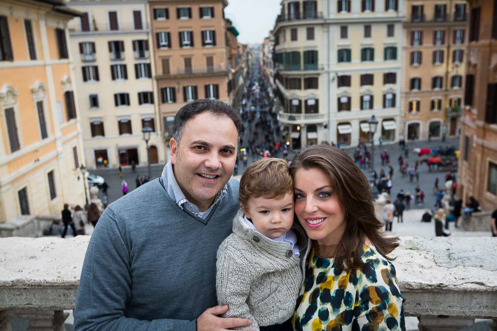 Close image of a family during a visit in Rome