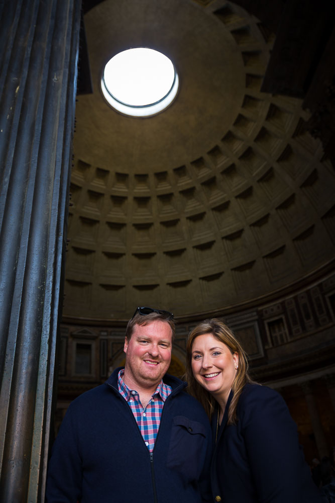 Portrait image taken underneath the hole above the ceiling of the Roman Pantheon in Rome Italy