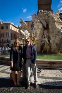 Posing in piazza Navona during a vacation photo shoot