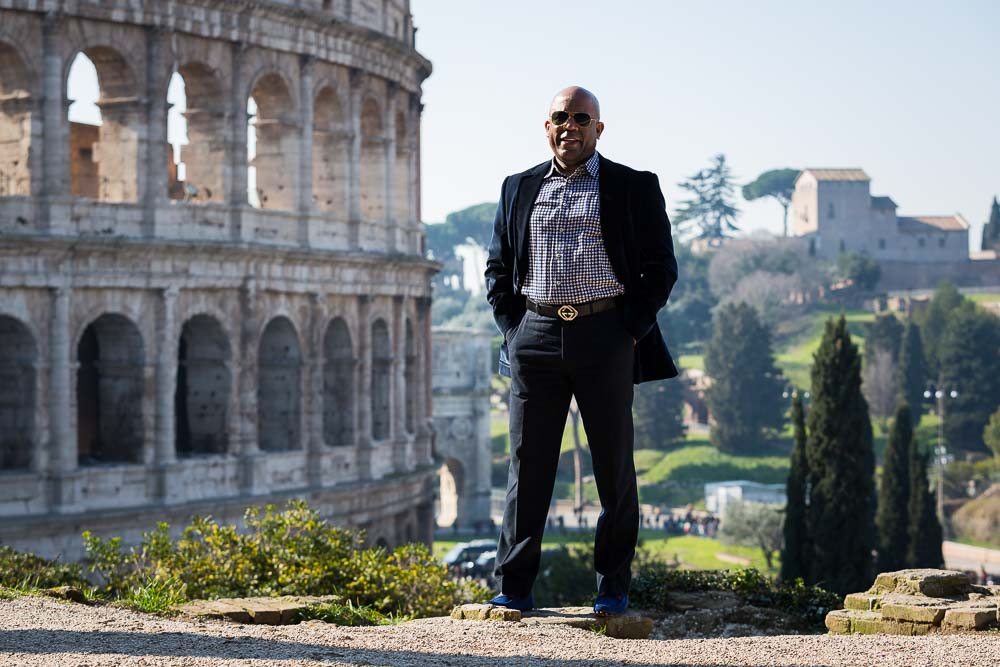 Portrait picture at the Roman Colosseum. Posed shot.