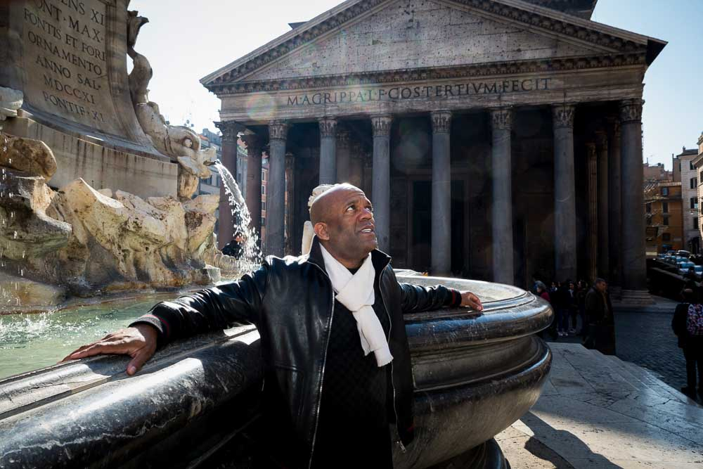 Posed image taken at the Pantheon water fountain