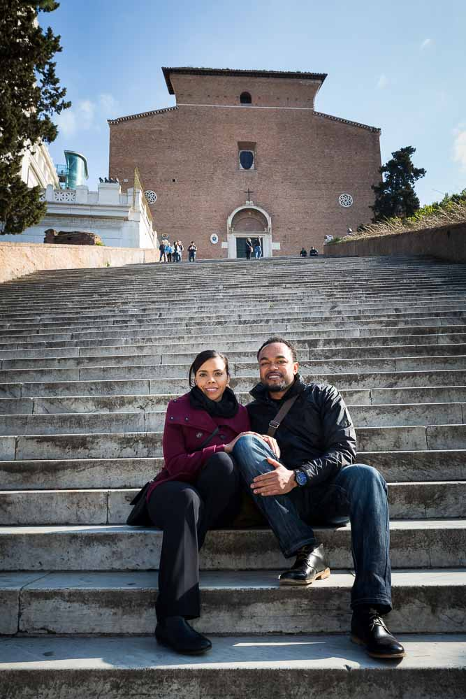 Sitting down on the steps before Church Basilica di Santa Maria in Ara coeli