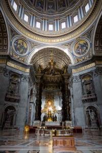 Inside Saint Peter's Basilica. Image taken during a church tour