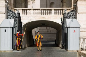 The Swiss guards in the Vatican