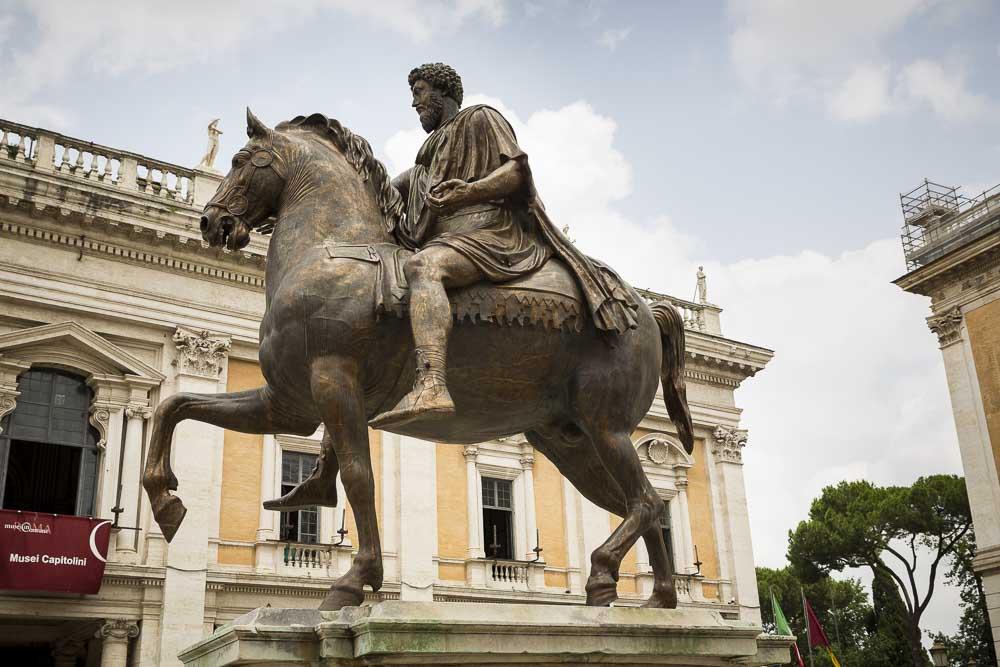 Equestrian statue of Marcus Aurelius found in Piazza del Campidoglio