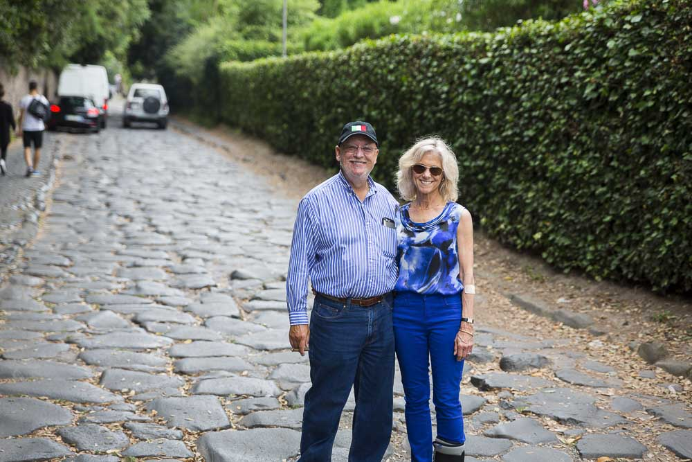 Standing on the old Appia roadway