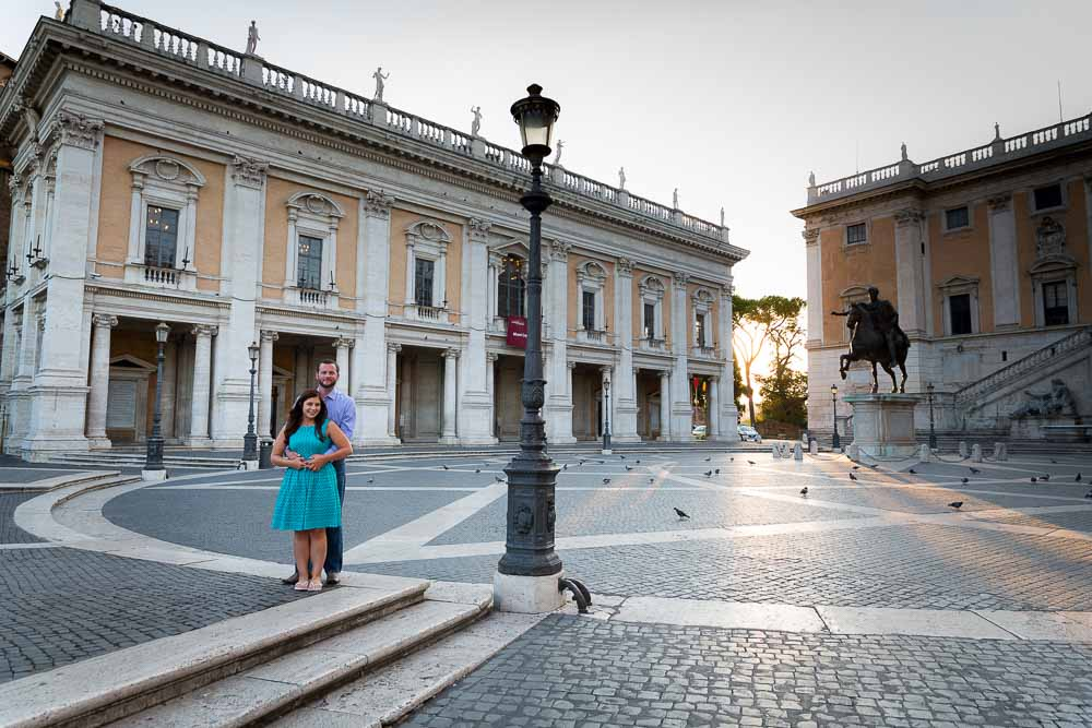 Piazza del Campidoglio early morning couple portrait