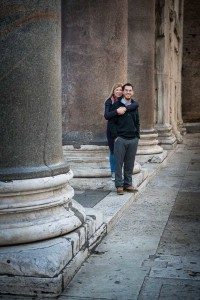 Standing by the ancient roman columns of the Pantheon