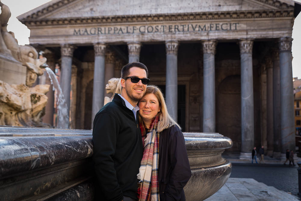 Coupe posing by the Roman Pantheon during a photo tour
