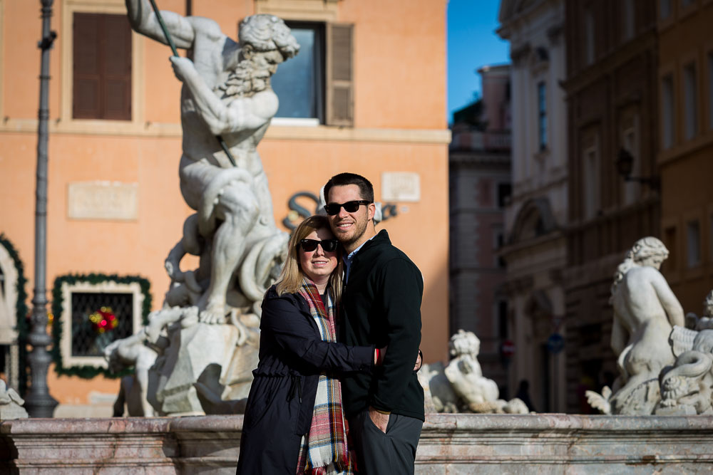 Portrait photo of a couple in Navona square
