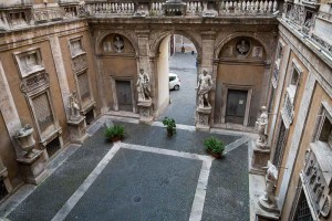 Ancient roman courtyard contained in the conference building in Rome