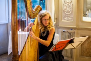 Harp player inside picture
