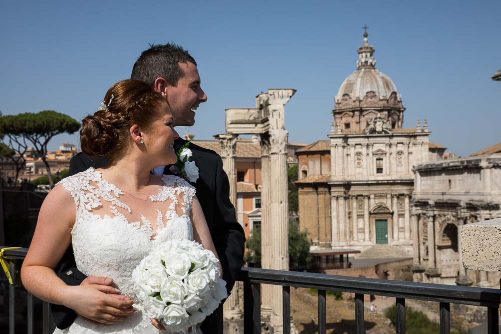 Wedding couple overlooking the roman forum