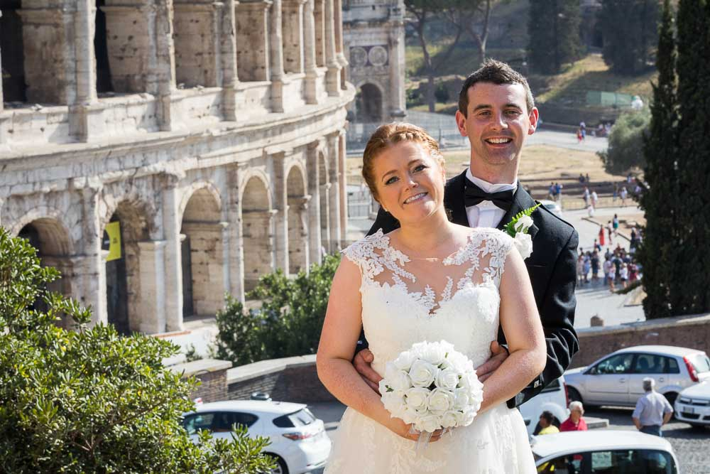 Portrait picture of the married couple at the Coliseum