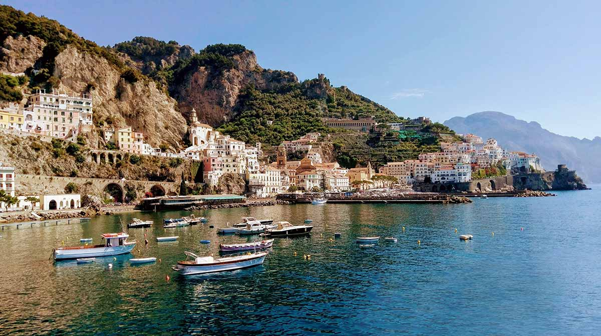 Amalfi coast car service local bay port view