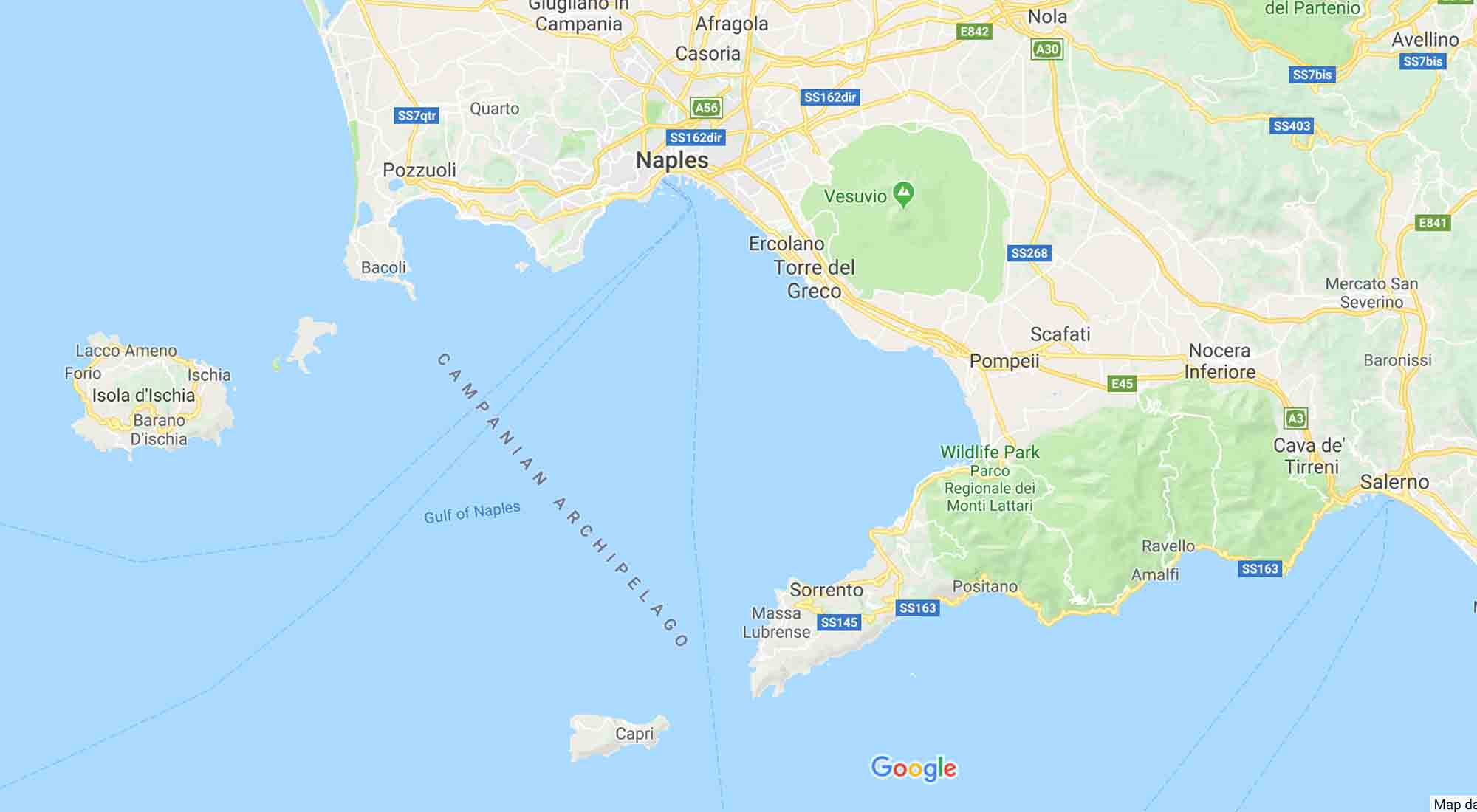 Map of the Amalfi coast main places of interest